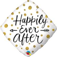 "Happily Ever After Gold Dots Wedding 18"" Foil 