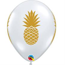 "Gold Pineapple | Tropical 11"" Qualatex Latex Party Balloons"