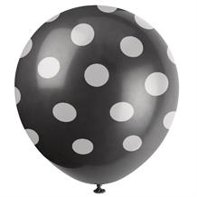 Black Polka Dot Party Latex Balloons