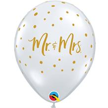 "Mr and Mrs Wedding Gold Dots 11"" Qualatex Latex Party Balloons"