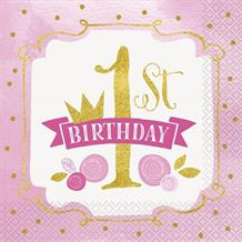 Pink and Gold Girls 1st Birthday Party Napkins | Serviettes