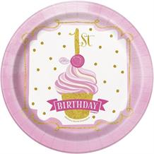 Pink and Gold Girls 1st Birthday Party Cake Plates