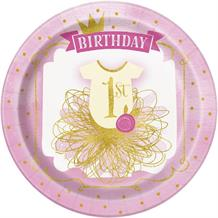Pink and Gold Girls 1st Birthday Party 23cm Party Plates