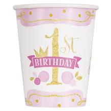 Pink and Gold Girls 1st Birthday Party Cups