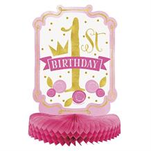 Pink and Gold Girls 1st Birthday Party Honeycomb Table Centrepiece | Decoration