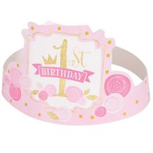 Pink and Gold Girls 1st Birthday Party Favour Hats