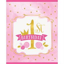 Pink and Gold Girls 1st Birthday Party Loot Bags