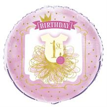 "Pink and Gold Girls 1st Birthday Party 18"" Foil 