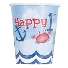 Nautical Boys 1st Birthday Party Cups