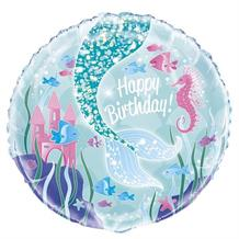 "Mermaid Glitter Tail Happy Birthday 18"" Foil 