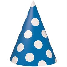 Royal Blue Polka Dot Party Favour Hats