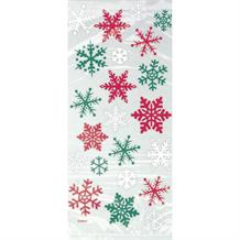 Christmas Red and Green Snowflake Party Cello Loot Favour Bags