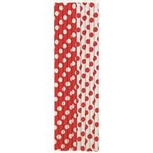 Red Polka Dot Party Drinking Straws