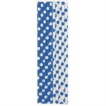 Royal Blue Polka Dot Party Drinking Straws
