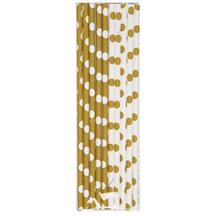 Gold Polka Dot Party Drinking Straws
