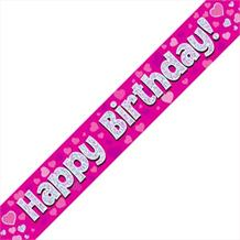 Pink Heart Happy Birthday Foil Banner | Decoration