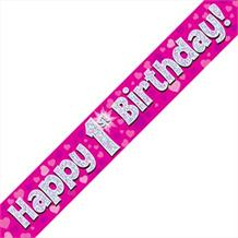 Pink Heart Happy 1st Birthday Foil Banner | Decoration
