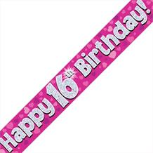 Pink Heart Happy 16th Birthday Foil Banner | Decoration