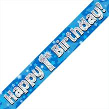 Blue Star Happy 1st Birthday Foil Banner | Decoration