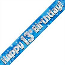 Blue Star Happy 13th Birthday Foil Banner | Decoration