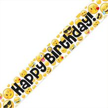 Emoji Icon Party Happy Birthday Foil Banner