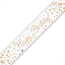 Rose Gold Confetti Happy Birthday Foil Banner | Decoration