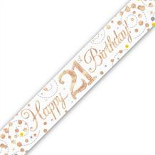 Rose Gold Confetti Happy 21st Birthday Foil Banner | Decoration
