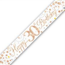 Rose Gold Confetti Happy 30th Birthday Foil Banner | Decoration