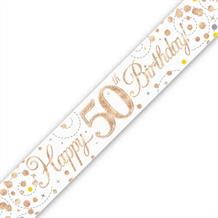 Rose Gold Confetti Happy 50th Birthday Foil Banner | Decoration