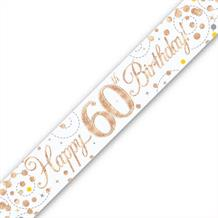 Rose Gold Confetti Happy 60th Birthday Foil Banner | Decoration