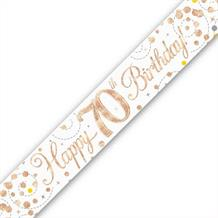 Rose Gold Confetti Happy 70th Birthday Foil Banner | Decoration