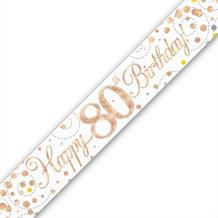 Rose Gold Confetti Happy 80th Birthday Foil Banner | Decoration