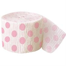 Baby Pink Polka Dot Party Streamer Decoration 30ft