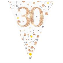 Rose Gold Confetti Happy 30th Birthday Foil Flag | Bunting Banner | Decoration