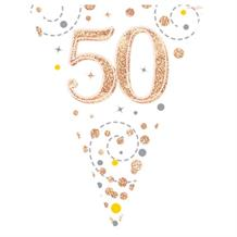 Rose Gold Confetti Happy 50th Birthday Foil Flag | Bunting Banner | Decoration