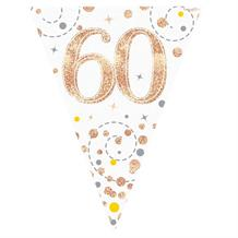 Rose Gold Confetti Happy 60th Birthday Foil Flag | Bunting Banner | Decoration