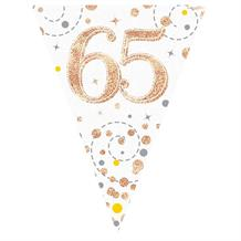 Rose Gold Confetti Happy 65th Birthday Foil Flag | Bunting Banner | Decoration
