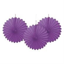 Pretty Purple Tissue Paper Fans Party Hanging Decorations