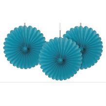 Teal Blue Tissue Paper Fans Party Hanging Decorations