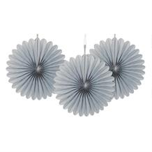 Silver Tissue Paper Fans Party Hanging Decorations