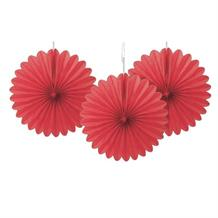Red Tissue Paper Fans Party Hanging Decorations