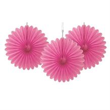 Hot Pink Tissue Paper Fans Party Hanging Decorations