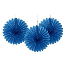 Royal Blue Tissue Paper Fans Party Hanging Decorations