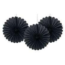 Black Tissue Paper Fans Party Hanging Decorations