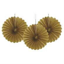 Gold Tissue Paper Fans Party Hanging Decorations