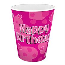 Pink Heart Happy Birthday Party Cups