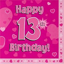 Pink Heart Happy 13th Birthday Party Napkins | Serviettes