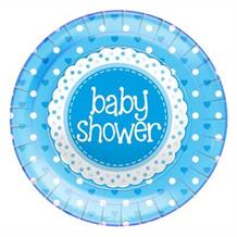 Blue Polka Dot Baby Shower Party Plates