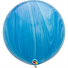 "Blue Colours SuperAgate Marble 30"" Qualatex Decorator Latex Party Balloons"