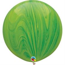 "Green Colours SuperAgate Marble 30"" Qualatex Decorator Latex Party Balloons"